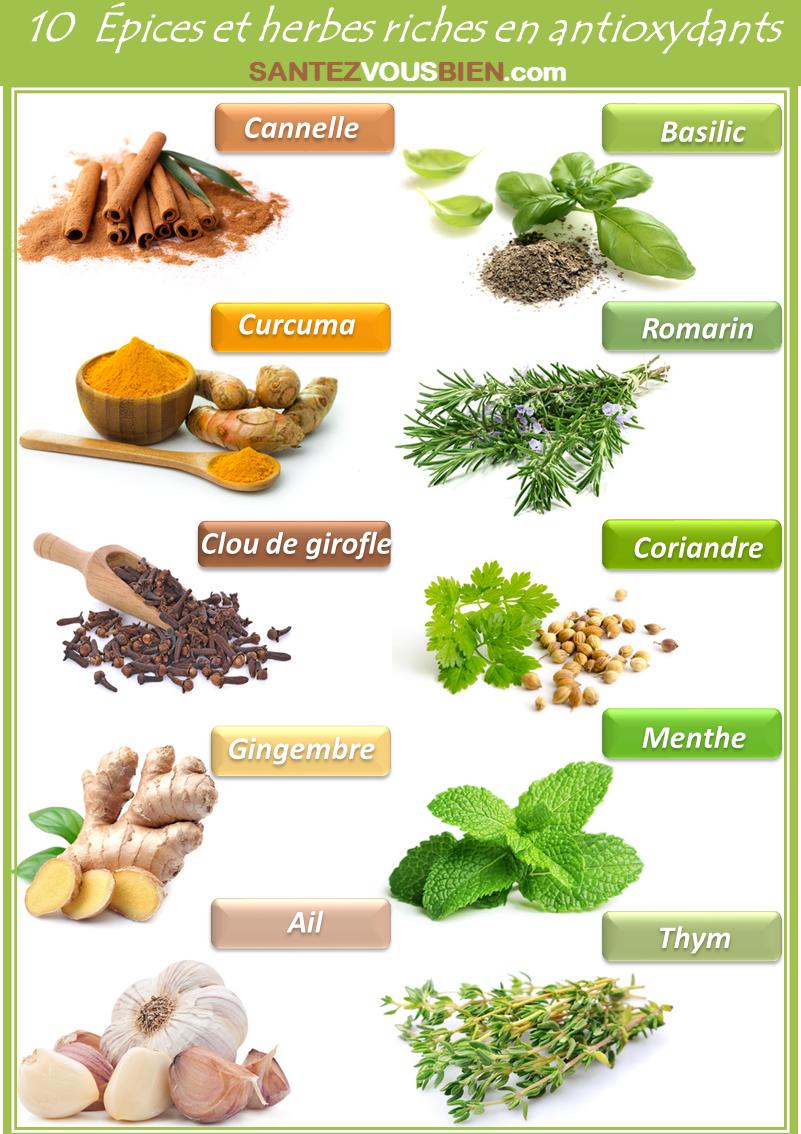 Epices et herbes riches en antioxydants